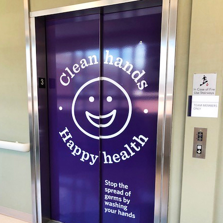 These elevator wraps using 3M adhesive vinyl are part of a rollout at multiple Novant Medical Centers across NC and VA.