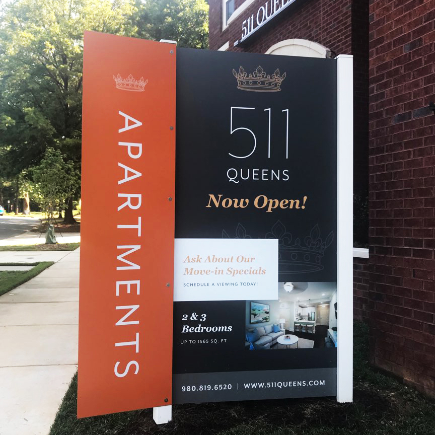 Project: My Niche Apartments located in Charlotte, NC is a high profile apartment complex on Queens Road  For this project we installed the sign and used a side blade. We also installed a large format banner on the building wall.