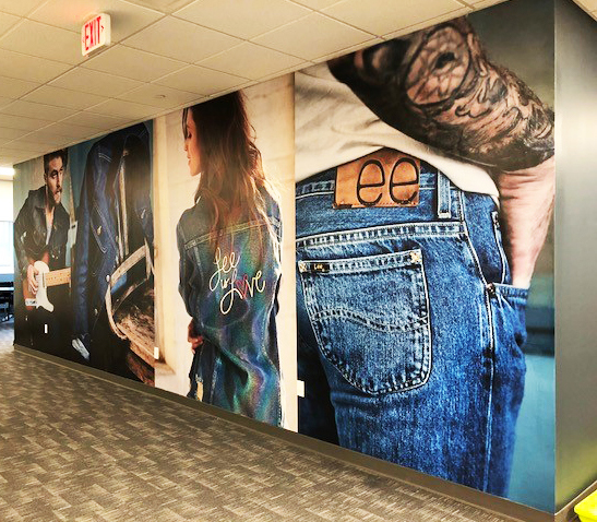 Project: Lee images was part of the VFO Reading, PA Corporate upfit  We produced and installed this special wallpaper that doesn't require paste and can be removed with water for this project.