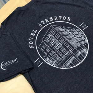 Project: Tri-Blend Screen Printed T-Shirts  Sharpe Co. provided 250 Next Level Tri-Blend screen printed t-shirts to celebrate the topping out of Novel Atherton, Crescent Communities latest multi-use community in Southend. This brand is cost effective with a soft material blend.