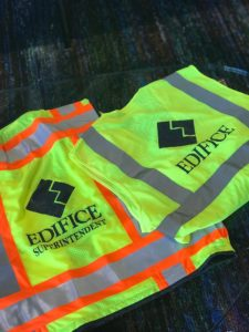 Edifice screen printed PIP Heavy Duty Surveyor iPad vest and Class 2 Mesh Pocket vest.